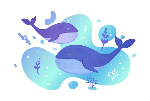 Два кита в море. океанская рыба. подводная морская дикая жизнь. иллюстрация. Premium векторы