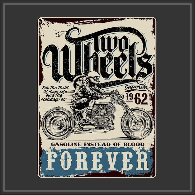 Two wheels forever Premium Vector