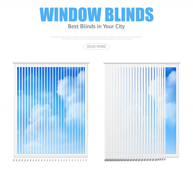 Two windows with blinds overlooking cloudy sky Free Vector