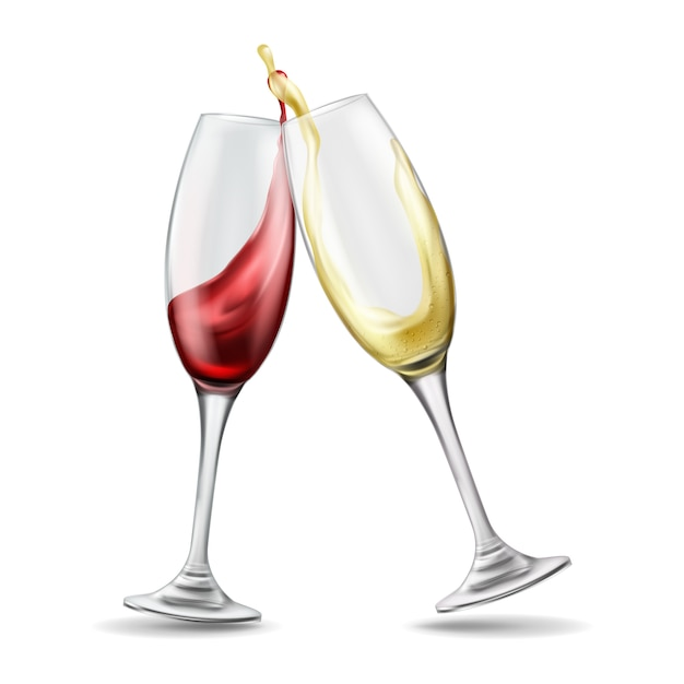 Two wine glasses with splash of red and white wine, celebratory toast, realistic illustration Free Vector