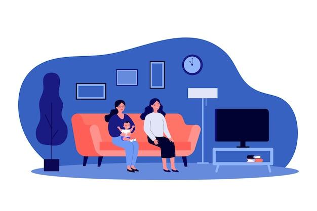 2人の女性と子供がテレビを見ています。ゲイの両親のイラスト Premiumベクター