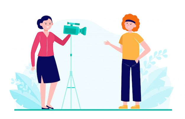 ブログの映画、インタビュー、またはビデオを撮影する2人の女性 無料ベクター