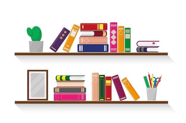 Две деревянные полки с книгами, растениями, канцелярскими принадлежностями и фоторамкой на белом фоне. Premium векторы