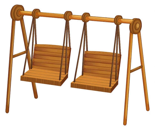 Two wooden swings on white Free Vector