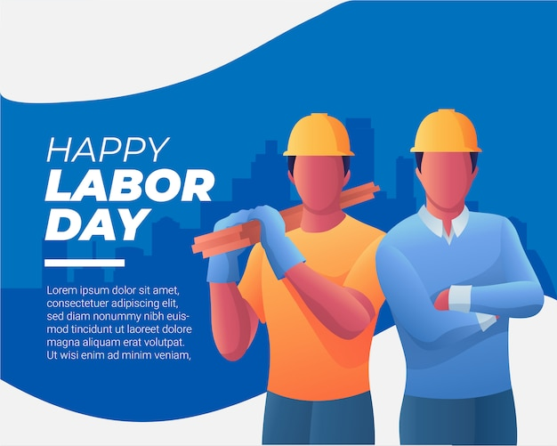 Two workers  and happy labor day Premium Vector