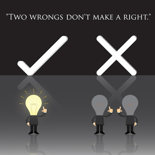 Two wrongs don't make a right Premium Vector