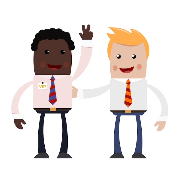 Two young businessman. a couple of successful businessmen - blonde and african american - with happy smiles on their faces. Premium Vector