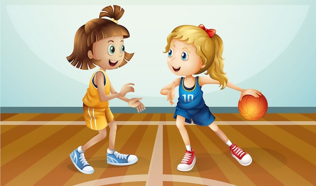 Two young ladies playing basketball Free Vector