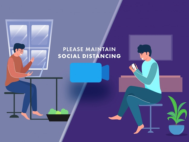 Two young man taking video calling from laptop and smartphone at home for maintain social distancing concept. Premium Vector
