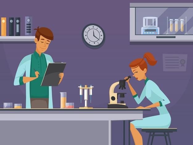 Two young scientists in chemistry lab making microscope slides and taking notes retro cartoon poster Free Vector