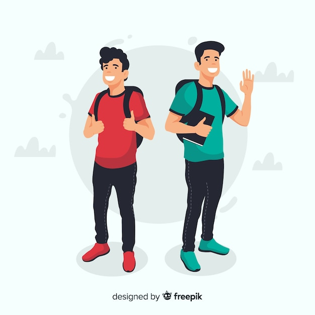 Two young students Free Vector