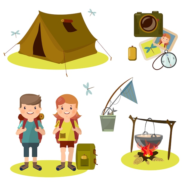 Two young tourist with a backpack. Premium Vector