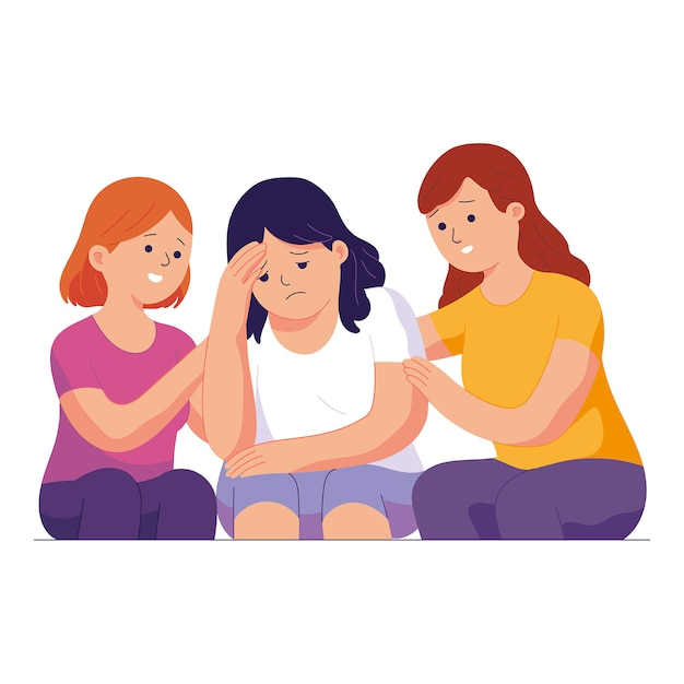 Two young women soothe and comfort their sad friends Premium Vector
