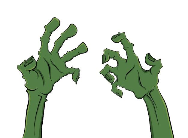 Hai bàn tay thây ma vẽ trên nền trắng cho Halloween
