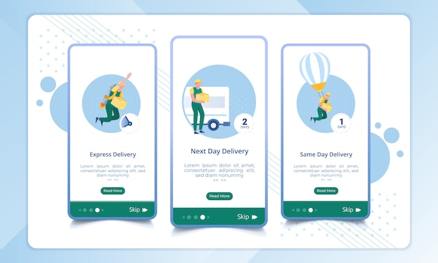 Type of delivery service on the mobile interface display Premium Vector