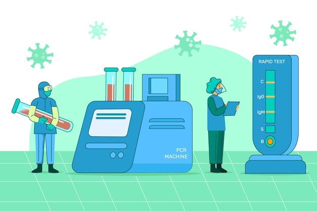 コロナウイルス検査の種類イラスト 無料ベクター