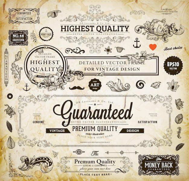Type warranty collection vintage vignette Premium Vector