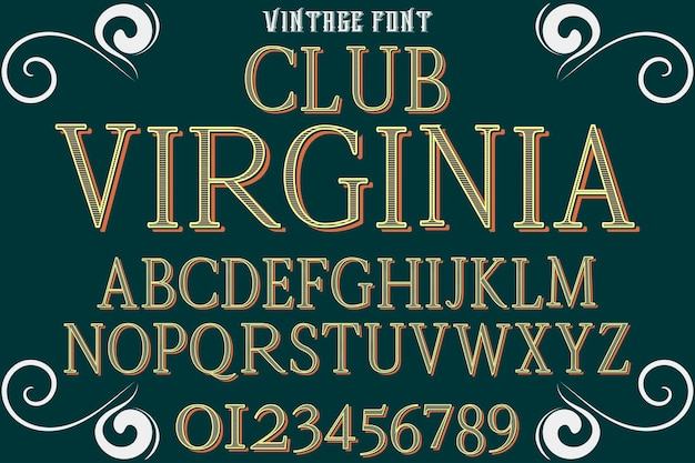 Typeface font design club virgina Premium Vector