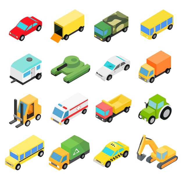 Types of automobiles isometric icons set. Premium Vector