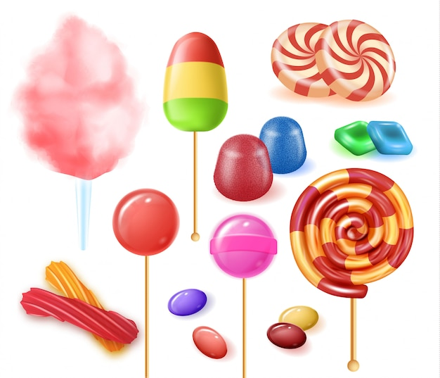 Types colorful fruit candies on white background. Premium Vector