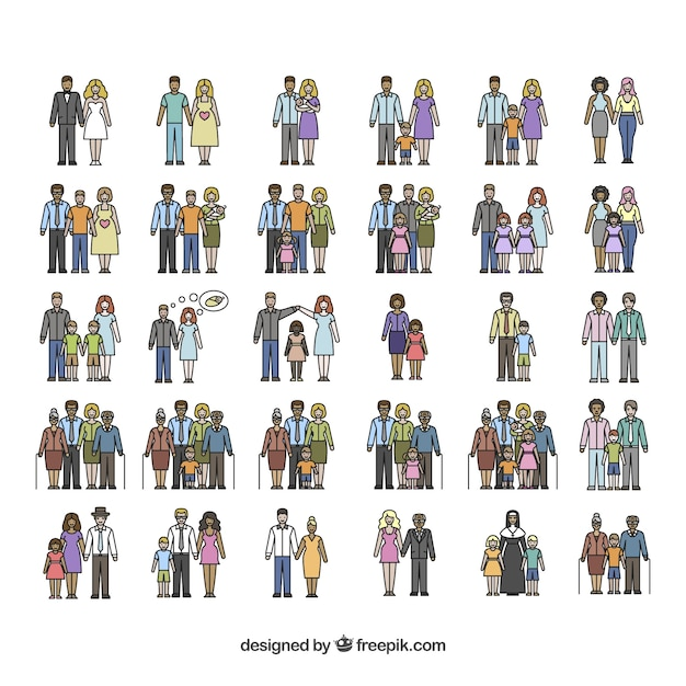 Types of families Free Vector