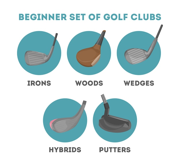 Types of golf club for a beginner Premium Vector