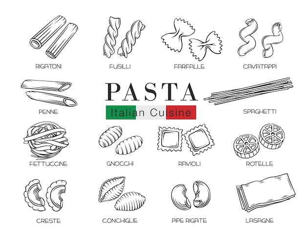 Типы итальянской пасты или макароны наброски иллюстрации Premium векторы