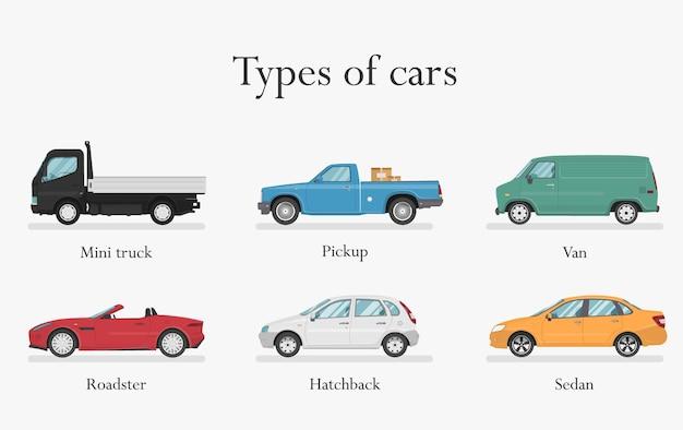 Виды автомобилей. транспортный дизайн на белом фоне, иллюстрации. Premium векторы