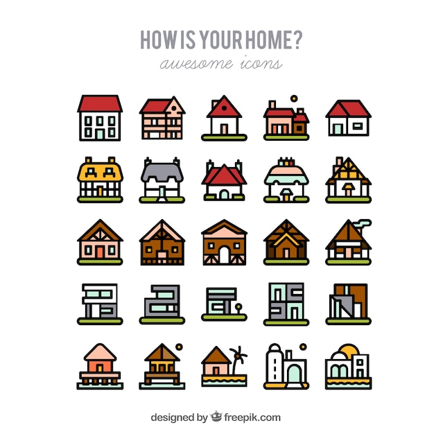Charming Types Of Houses Free Vector