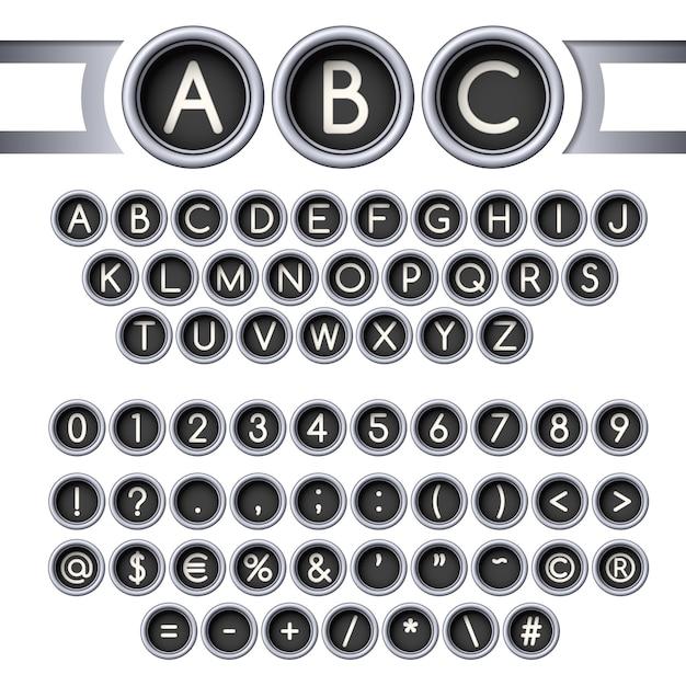 Typewriter buttons alphabet Premium Vector