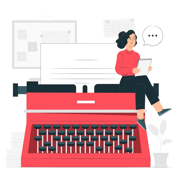 Illustrazione di concetto di macchina da scrivere Vettore gratuito