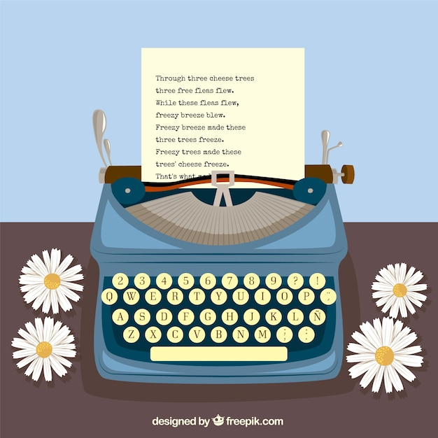Typewriter and daisies Free Vector