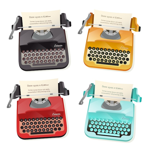 Typewriter flat set Free Vector