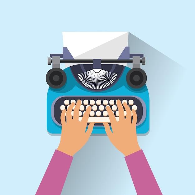 Typewriter icon retro style flat Premium Vector