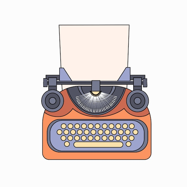 Typewriter icon retro style flat Premium Vector