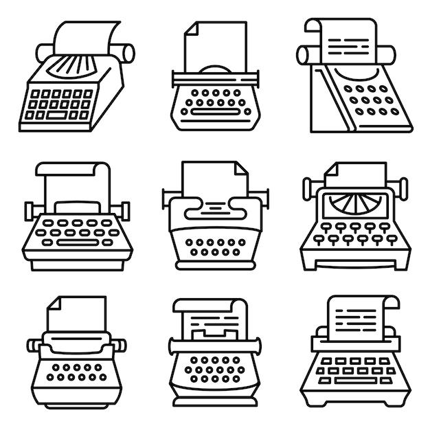 Typewriter icons set, outline style Premium Vector