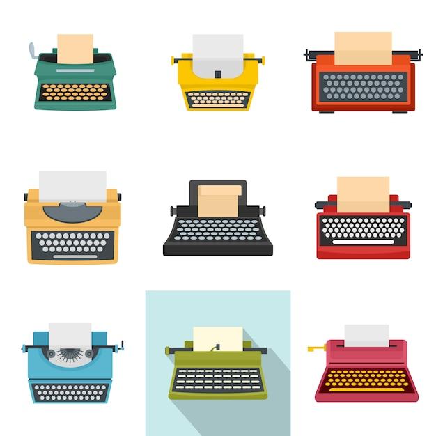Typewriter machine keys old icons set Premium Vector