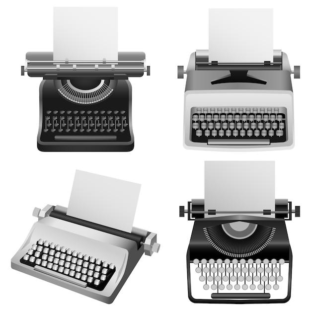 Typewriter machine old mockup set Premium Vector