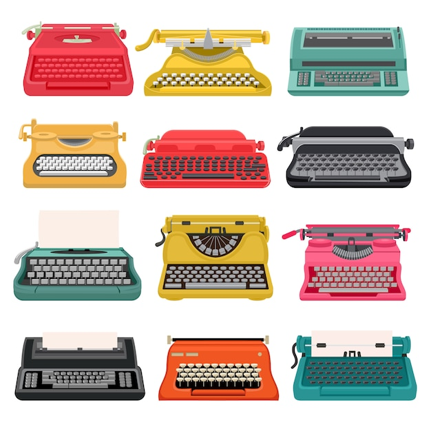 Typewriter  old vintage keyboard machine, retro type-writer for writing and typing. illustration set of antique print seccretary object isolated on white Premium Vector