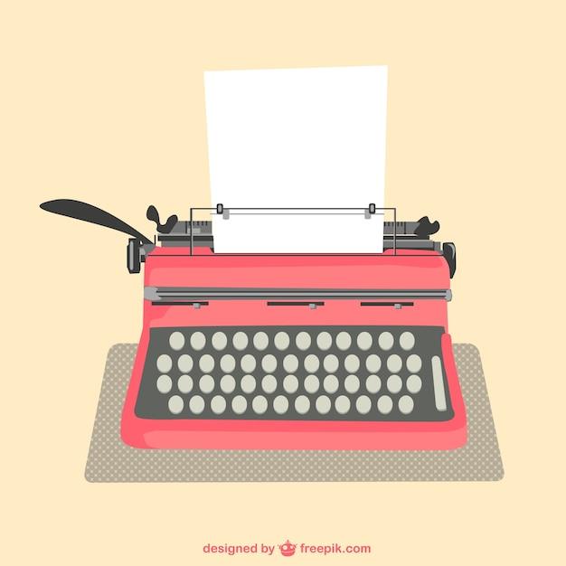 Typewriter and paper sheet Free Vector