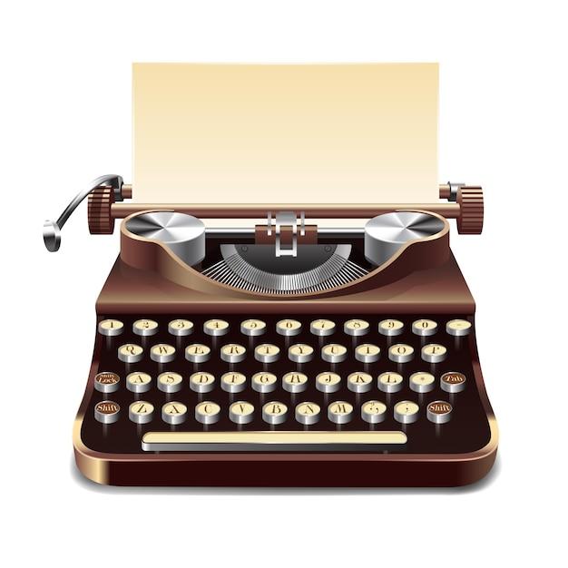 Typewriter realistic illustration Free Vector