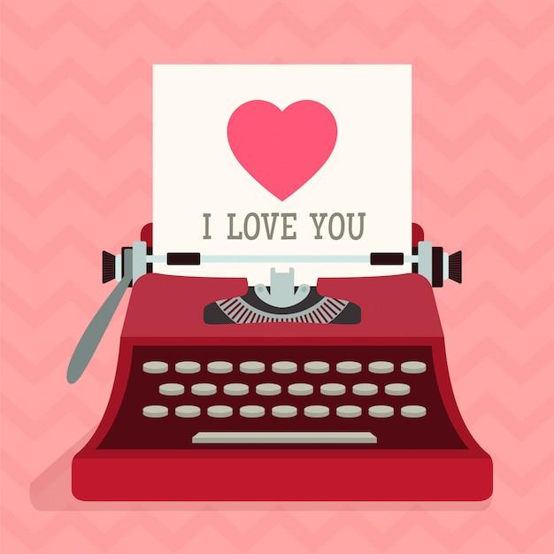 Typewriter with love heart. valentines day. Premium Vector