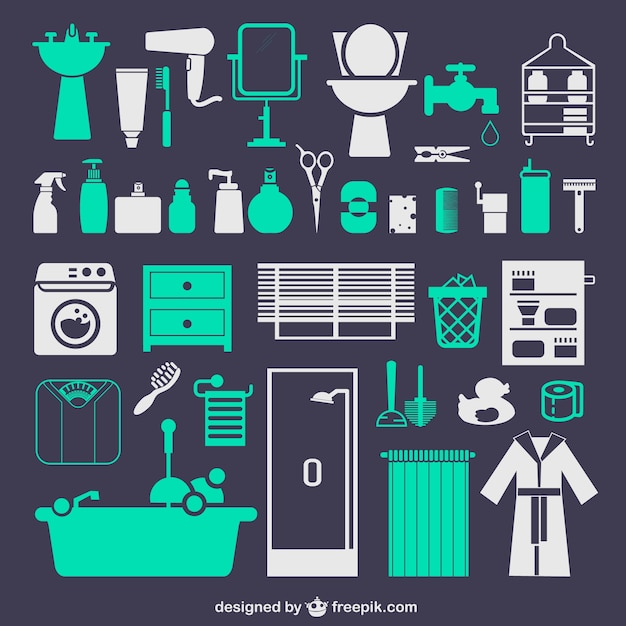 Typical bathroom icons vector free download Online vector editor