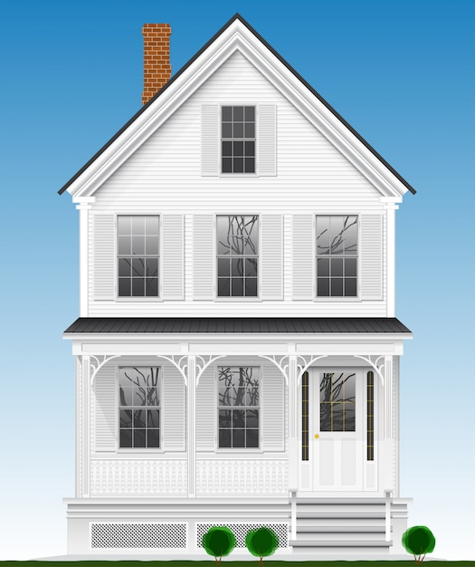 A typical and classic american house made of wood painted with white paint. two floors, basement and attic. view from the facade. Premium Vector