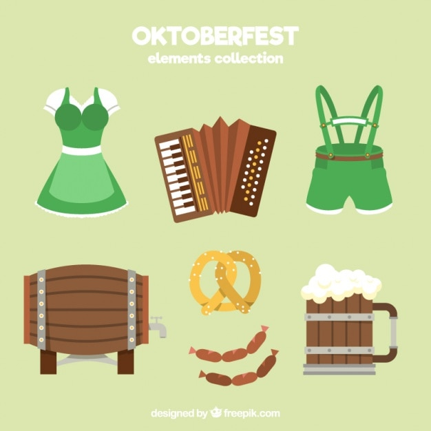 Typical clothing for oktoberfest with other items Free Vector