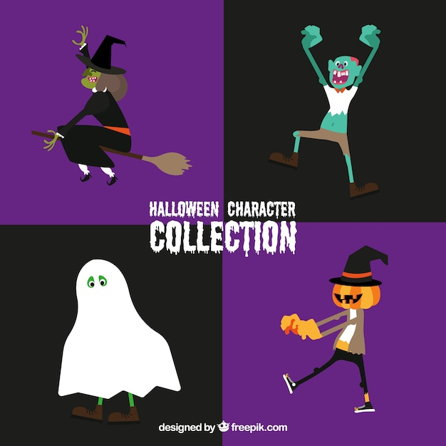 Typical halloween characters collection