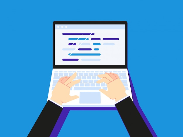 Typing code on laptop. businessman using notebook creen desktop or secretary hand type   illustration Premium Vector