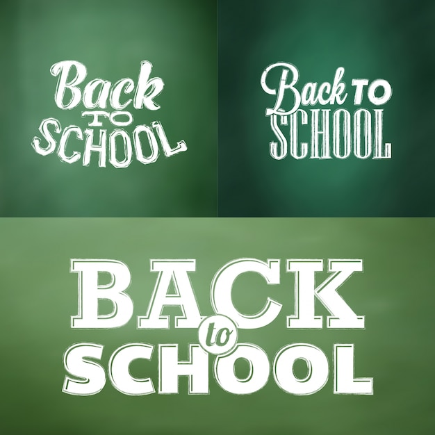 Typographic back to school designs in chalk style