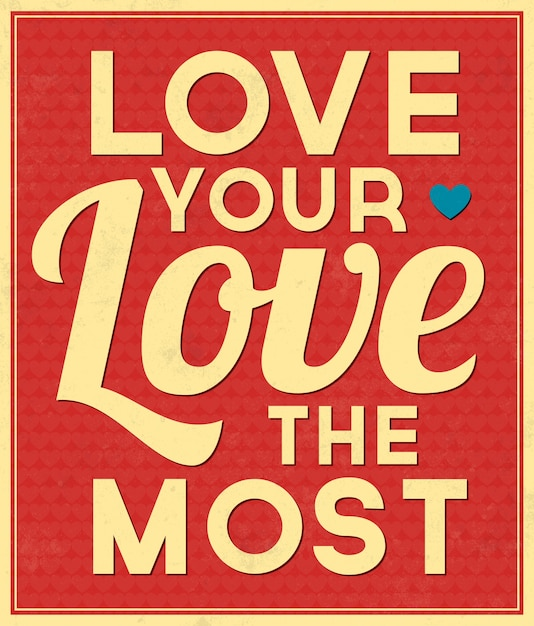 Typographic background love quote Free Vector