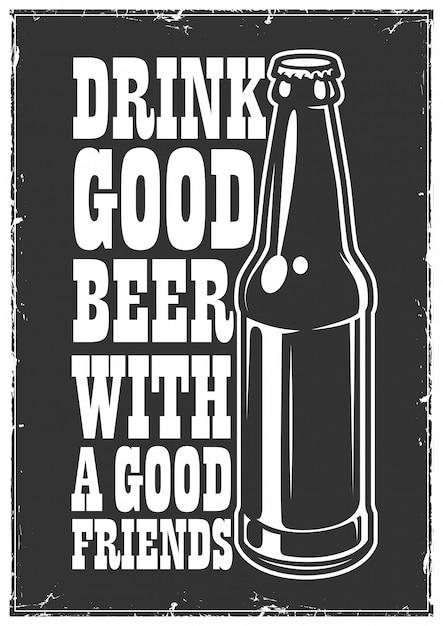 Poster di birra tipografica Vettore gratuito